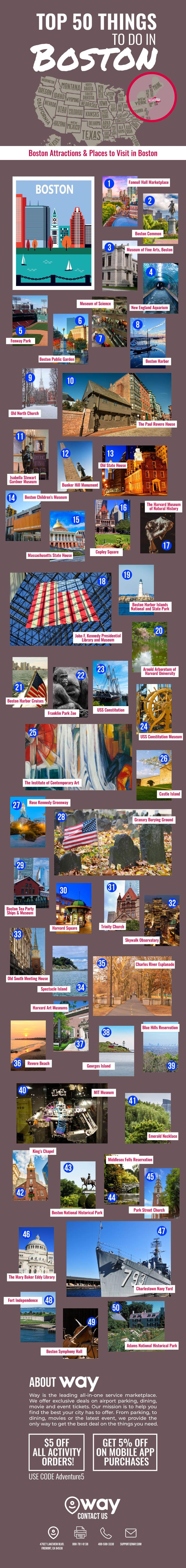 50 Must-Do Must-See Places in Boston - Infographic