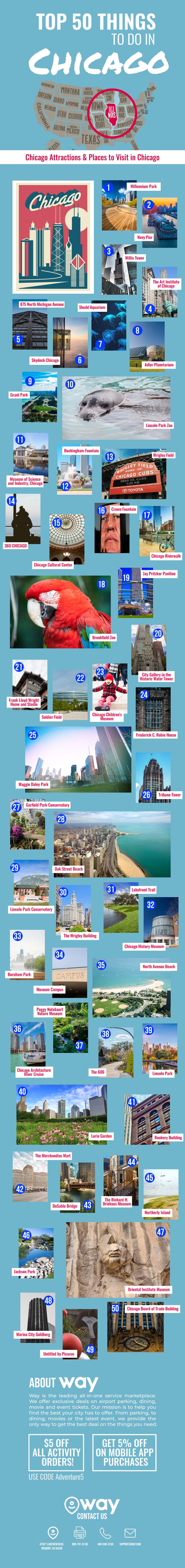 50 Must-Do, Must-See Places in Chicago - Infographic
