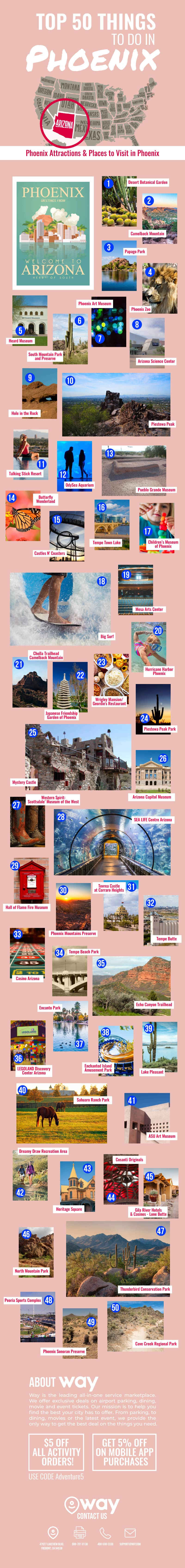 50 Must-Do, Must-See Places in Phoenix Arizona - Infographic