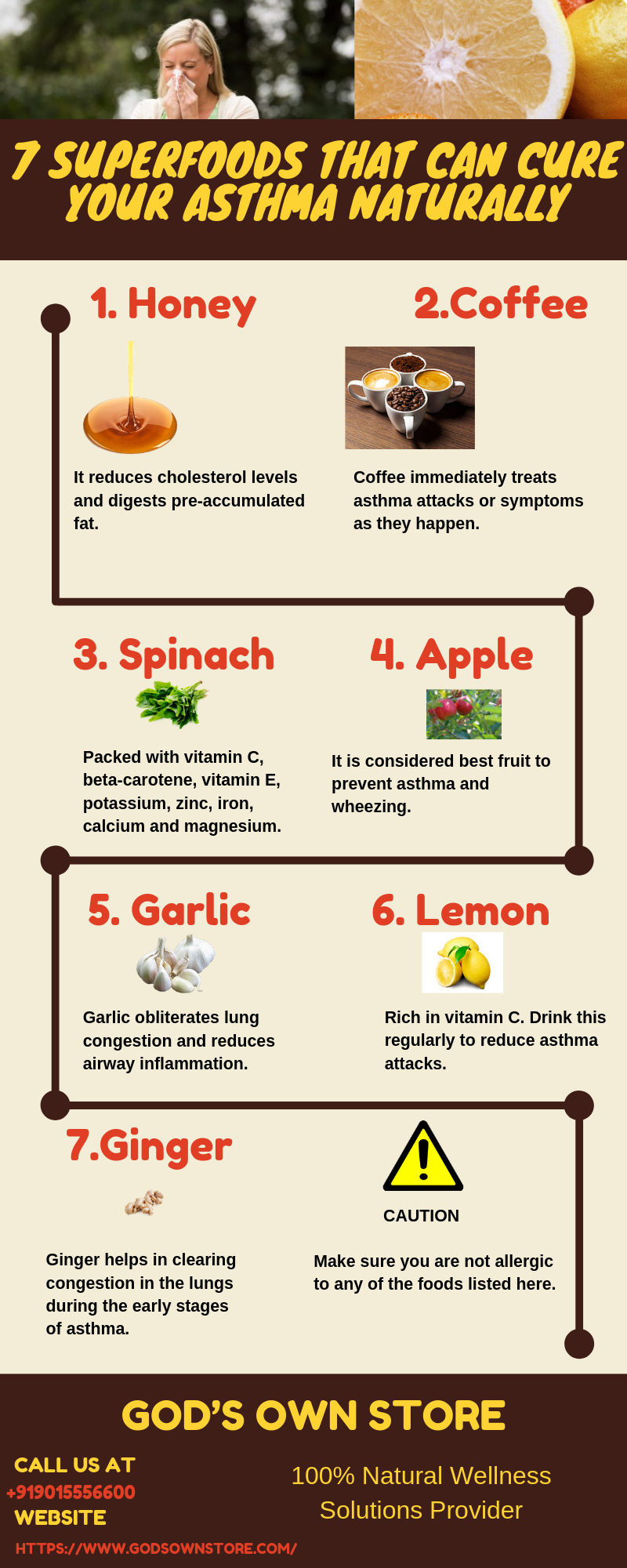 Anti-Asthma Natural Warriors: 7 Superfoods that Fight Asthma - Infographic