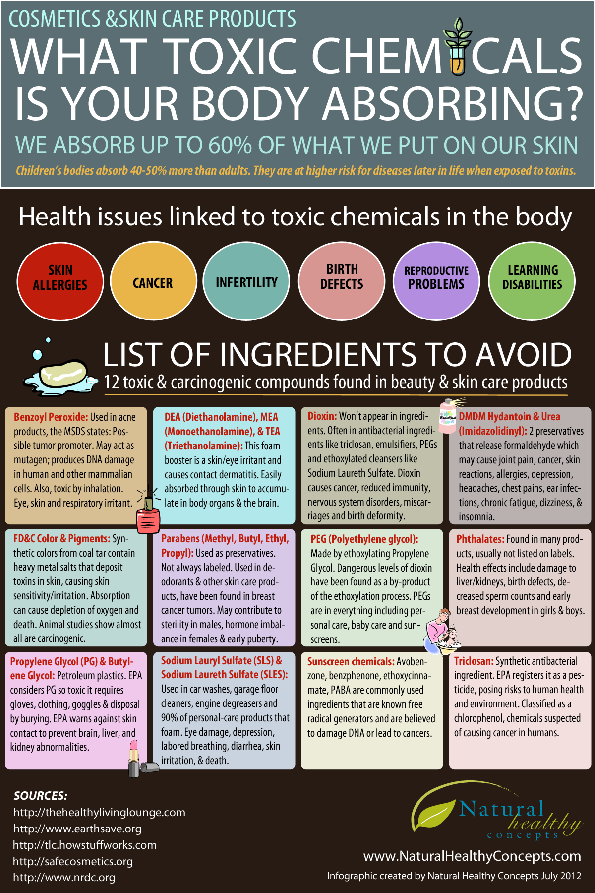 Ready Reckoner of 12 Dangerous Toxic Chemicals in Personal Care Products - Infographic
